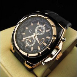 Wholesale Unisex V6 Quartz Gold Plated Metallic watch Dial Rubber Men Gent Officer Sport Casual Watches gift