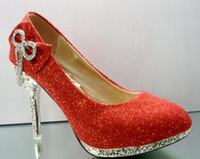 Wholesale Women s Gold Red Color Waterproof Diamond Bow Dazzling High Heels Shoes Wedding Bridal Dress shoes