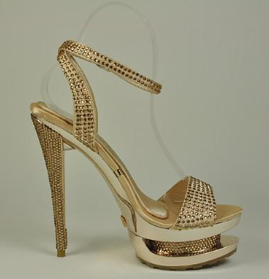 Gold Crystal Peep Toe Sandals High Heels High Heel Shoes Dress ...