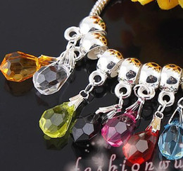 Wholesale MIC Hot sell Facet transparent Teardrop Dangle Big Hole Beads Fit European Charm Bracelet mm mm Loose Beads