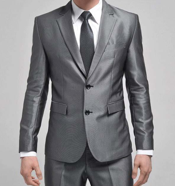 2017 Hot Sale Silver 2 Button Men's Suits Jacket Pants Groom Suits