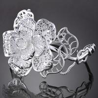 Wholesale 2013 Women s Peony Bracelets Hollow Jewellry Silver Korean Style Jewelry Factory Sale Cuff Bangle S61