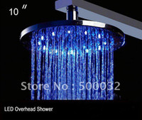 Exposed Contemporary LED Temperature-controlled 3 color changing LED lights shower heads overhead shower sprinkler