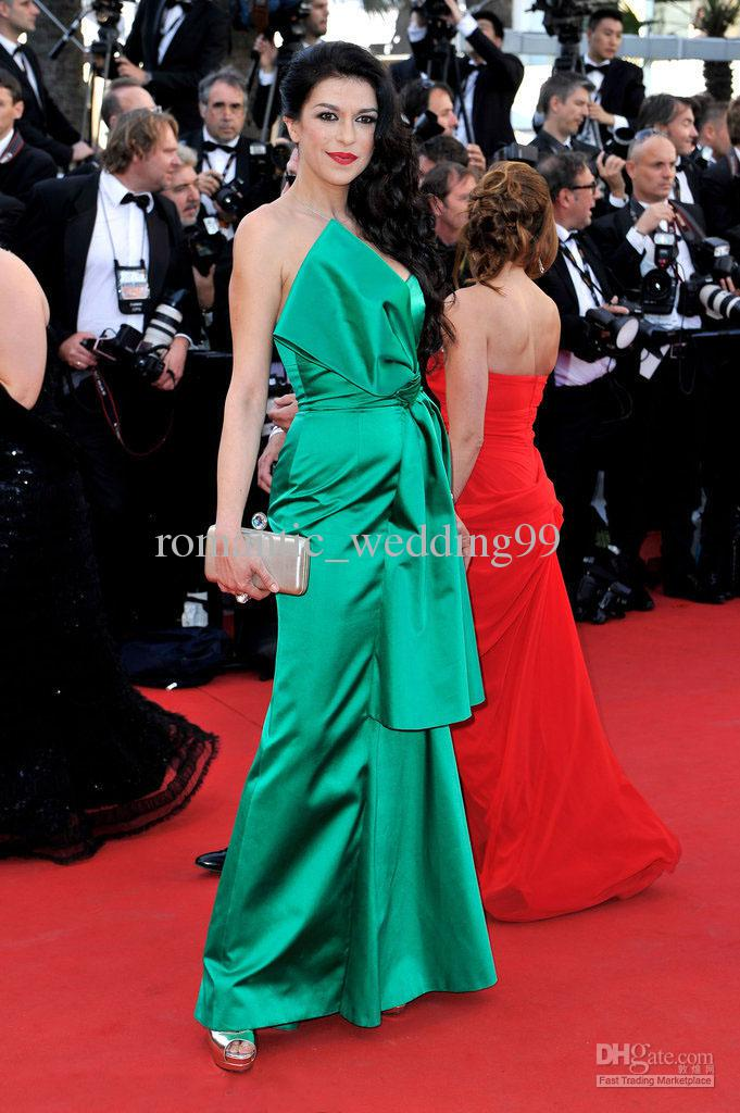 Elegant Red Carpet Dresses Hot Sexy Strapless Elastic Satin ...