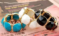 Wholesale Lucite Gem Stone Bangel Bracelet Adjustable Fashion Korea View Gold Plated mix color