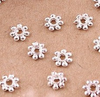 Wholesale MIC IN STOCK Silver Plated Fresh Daisy Spacer Bead mm