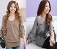Wholesale Autumn Women Ladies Loose V neck Fold SLeeve Knit Sweater Sweaters Tops