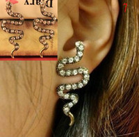Wholesale 16 STYLE Jewelry palace retro flash diamond snake atmosphere earrings findings
