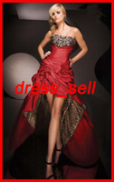 Wholesale 2012 Hot Sell Sexy Prom Party Homecoming Dresses Evening Gowns Leopard Print High Low Crystals Pleat