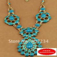 Wholesale Make a stunning statement in this hand painted turquoise enamel with center stone Turquoise Necklace