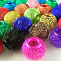 Wholesale Mixed Colors Basketball Wives Earrings Inspired Hoop Mesh Spacer Beads