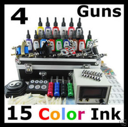 Wholesale 2012 Tattoo Equipment Kit Inks Machines Guns Grips Needles Power Set Expresss Free