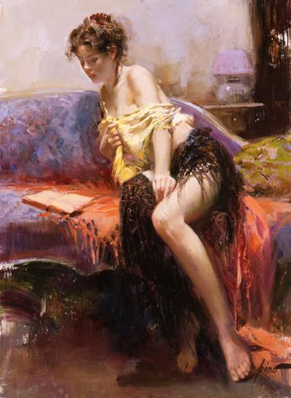 2017 Oil Painting By Pino Daeni,Paintings Of Women,After Midnight ...