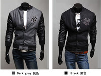Wholesale 2309 NEW HOT Autumn Men s Splice Stand up collar Slim Baseball uniform Jackets Coat Outerwear