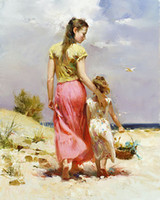 Wholesale oil painting art Lanscape painting Seaside Walk by Pino Daeni High quality handmade free shipp