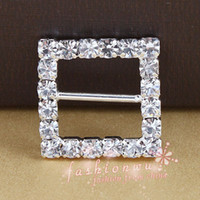 Wholesale In Stock MIC X SilverPlate Crystal Rhinestone Square Shaped Buckle MM