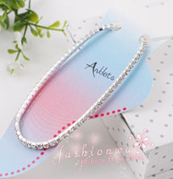 Wholesale New MIC Silver Plated Fresh Full Clear Rhinestone Czech Crystal Circle Spring Anklets