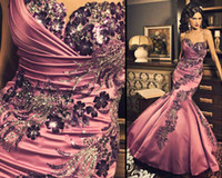 Wholesale 2012 New Sexy Sweetheart Prom Dresses Beading Mermaid Ruffles Pink Satin Evening Dresses