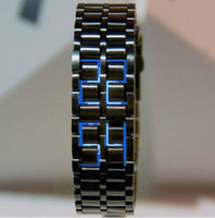 Digital LED Stainless Steel Men's Black Band Digital Blue LED Lava Wrist Watch Iron Metal Samurai
