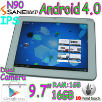 Wholesale 9 inch Sanei N90 IPS Capacitive touch screen Android Tablet PC GB GB dual webcam buletooth