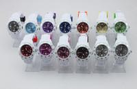 al por mayor fecha de la jalea-Calendario de silicona Relojes calendario Unisex Blanca, Correa color del dial jalea del caramelo del reloj puntero Fecha reloj 43mm