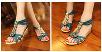 Red Women Wedge Wholesale price wedges bohemian casual sandal shoes woman & lady 3color beaded 10pcs lot