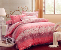 Adult Twill 100% Cotton 4 Pieces 3D Pink, Purple, and white Meteor Shower Comforter bedspread ... Bedding Set for Queen Size