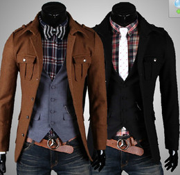 Wholesale New HOT Men s Coat OverCoat Men s Single breasted Lapel Three dimensional pocket OverCoat Coat
