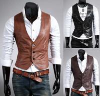 Precio de Leather jackets-VENTA CALIENTE para hombre de la chaqueta con capucha Sudaderas mangas delgado tamaño chaleco de cuero ML XL XXL