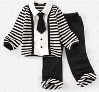 4-12 yers Large Boy New Baby boy cotton autumn clothing long sleeve trousers suit black white stripe Naval style clothes