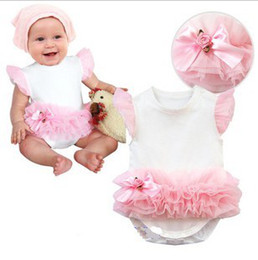 Hot! 12PCS Baby Girl Princess Pure White With Pink Ruffle Tutu Lace Skirts Romper Kid's Vest Dress