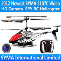 Wholesale SYMA S107C Video HD Camera SPY Cam Electric Infrared Remote Control RC Helicopter Gyro Metal LED Light Toys Mini Heli Copter Small Package
