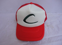 Wholesale New Pokemon Ash Ketchum Trainer Hat Costume Cap Adult Mesh Hat Trucker hat caps