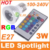 Wholesale 30pcs LED Bulbs E27 W RGB LED Lamp Colors changing Spotlight with Remote Control