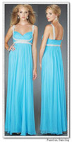 Blue Spaghetti Strap Empire Floor length Fold Beaded Homecom...