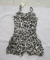Wholesale Children girl leopard frilling baby sleeveless jumpsuit pants baby summer overalls