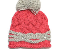 Wholesale EMS Child twisted rope Natural curling crystal buckle knitted hats