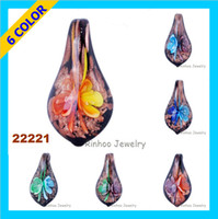 Wholesale Flower Inside Pyriform Murano Pendants Opaque Pyriform Glass Jewelry Mix Colours