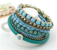 Wholesale Bohemian Retro Multi Strand Beads Resin Stone Bracelet Bangle Set new comming in for women s