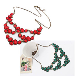 Drop Resin Gem Stone Lovely Choker Bib Necklace Bohemian Bronze Metal Red Green 2colors