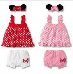Wholesale Summer Baby clothes Sling Princess Dress Shorts Hair band suit years old