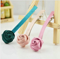 Hair Bows Blending Children's Day Wholesale Hair Accessories Barrette top folder selling headwear the hairpin roses Korea Ribbon