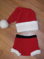 Wholesale Baby crochet Christmas hats Crochet baby sets baby handmade hat diaper infant Christmas gift sets