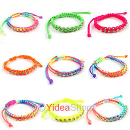 Wholesale 48 Lucky Rhinestone Jewelry Colorful Disco Braid Friendship Cords Strands Bracelets cm