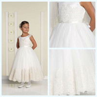 Hot Sale Cheap White Ivory Lace Appliqued Satin Flower Girl ...