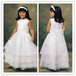 Wholesale 2012 Cheap White Scoop Neckline Sleeveless Ankle Length First Communion Dresses Flower Girl Gowns
