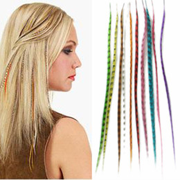Wholesale Colorful Eton Inch Synthetic Grizzly Rooster Feather Hair Extension Pieces with Beads
