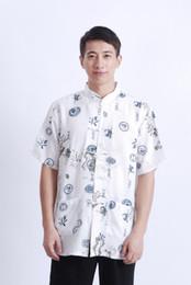 Wholesale Chinese Dragon Costume Men s Shirt Short sleeved Cotton Summer Shirt