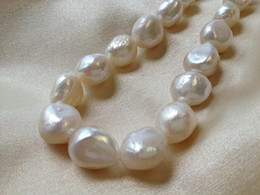 Wholesale 12 mm White Cultured Freshwater Pearls Baroque Nugget Loose Beads inches