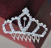 Wholesale Children s Crown comb hair accessories princess crown hair bands headdress bride crown rhin